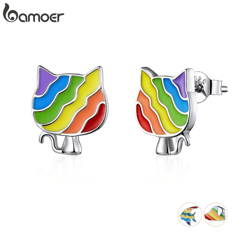Bamoer Rainbow Enamel Stud Earrings For Women 925 Sterling Silver Animal Fish Cat And Dog Fashion Jewelry Bijoux SCE823