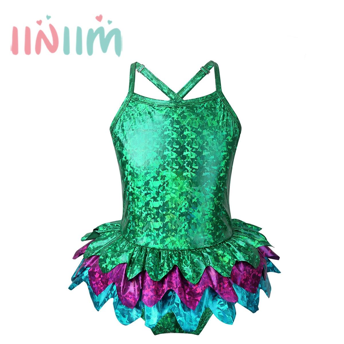 iiniim Kids Girls One Shoulder Ruffle Swimsuit Tankini Swimwear Bathing Suit Top with Skirted Bottoms