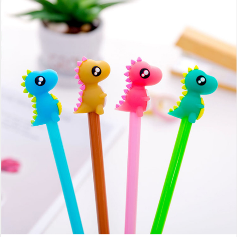 4Pcs/lot Cute Dinosaur Gel Pen 0.5mm Creative Cartoon Animal Signature Pen For Writing Office Stationery School Supplies Gift