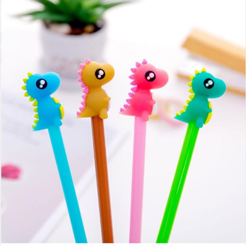 4Pcs/lot Cute Dinosaur Gel Pen 0.5mm Creative Cartoon Animal Signature for Writing Office Stationery School Supplies Gift