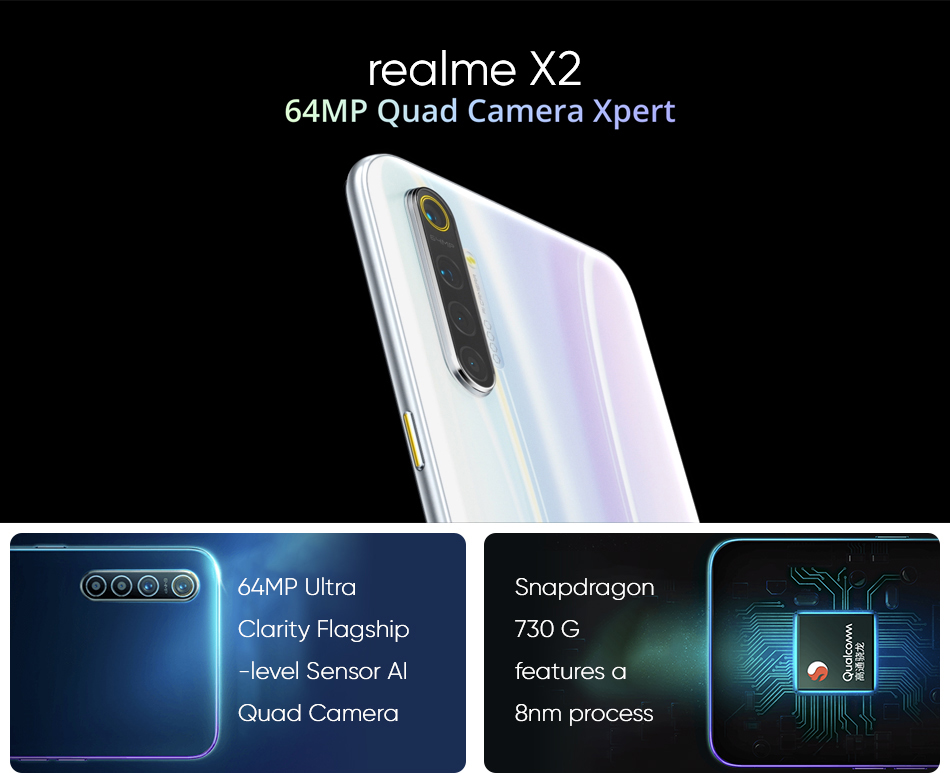 realme X2 X 2 NFC 8GB 128GB 6.4inch Mobile Phone Snapdragon 730G 64MP Quad Camera 30W Fast Charge Amoled Screen Cellphone