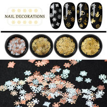 3D Gold Mix Christmas Hollow Out Snowflake Nail Glitter Sequins Snow Flakes Decorations For Nail Arts Winter Nails Accessories(China)