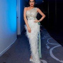 Вечерние платья 2020 для женщин роскошные перья Русалка на одно