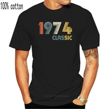 100% algodão o pescoço personalizado impresso camiseta masculina 1974 clássico 44 anos de idade aniversário 44 aniversário das mulheres t camisa