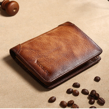 HOT Genuine Leather Men Wallet Small Mini Card Holder Male Wallet Pocket Retro purse High Quality 11
