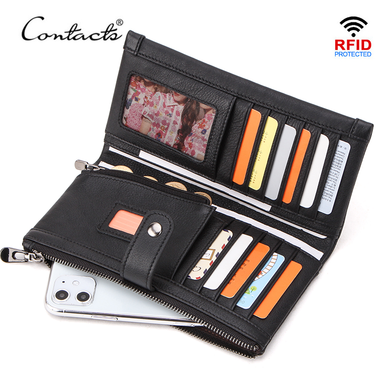 CONTACT'S 100% Genuine Leather Men Wallet Multifunction Long Purse With Coin Pocket Zipper Cartera Male Card Holder Rfid Wallets