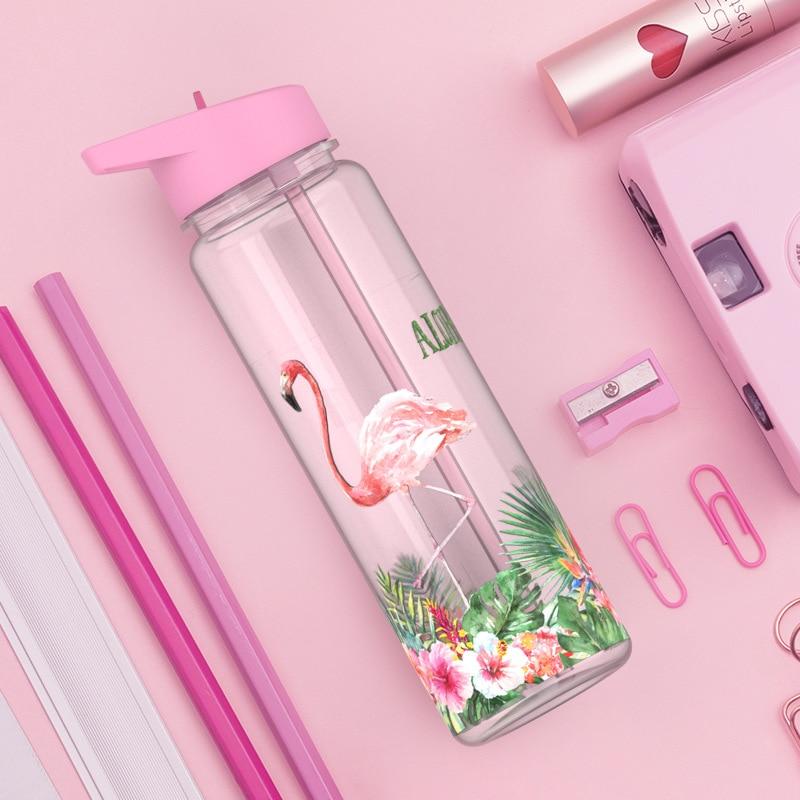 Bpa Free 750ml 100%Tritan Sports Outdoor Straw Water Bottle With Flamingos Printing My Drink Juice Handle The Unicorn Kettle|Water Bottles|   - AliExpress