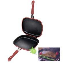 Двухсторонняя сковорода с антипригарным покрытием, сковорода для стейка, блинная посуда, практичная сковорода на гриле, кухонные сковороды, инструмент для приготовления пищи