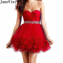 Женское короткое коктейльное платье janevini красное фатиновое