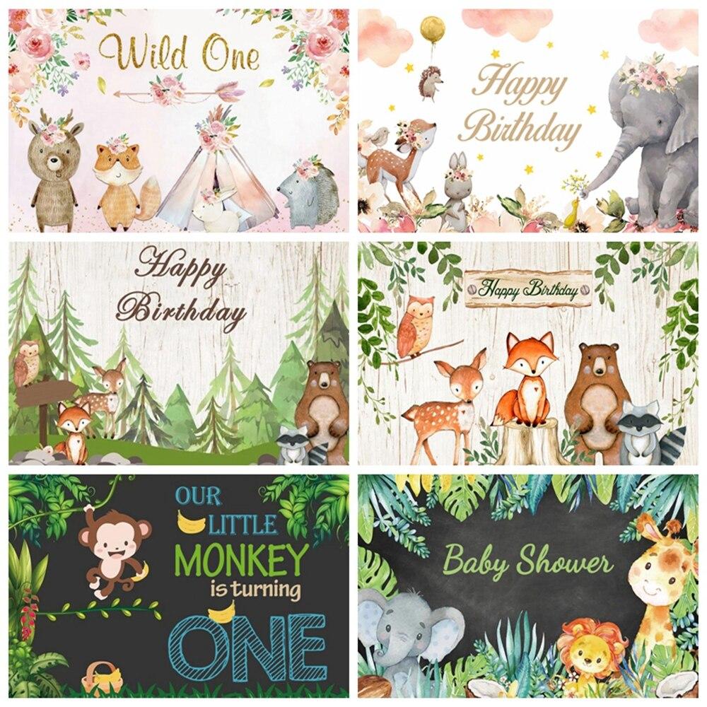 Фон для фотосъемки с изображением леса джунглей леса дикого сафари животных слона новорожденного малыша мальчика первого дня рождения веч...