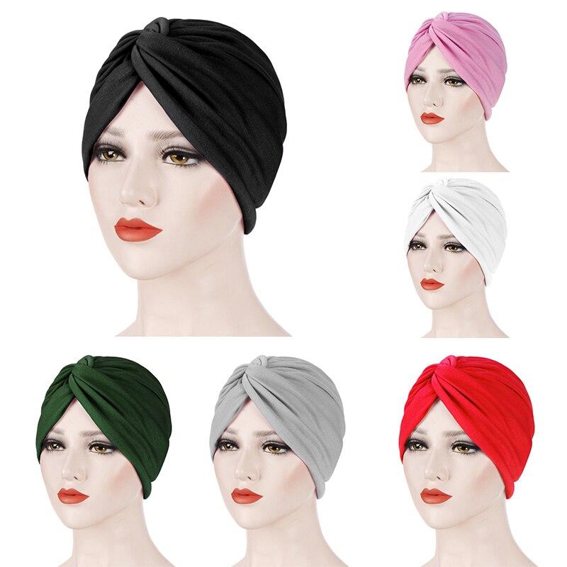 Women Indian Hat Bonnet Muslim Underscarf Beanies Skullies Stretch Cap Chemo Cancer Hat Pleated Cross Turban Headwear Bandanas