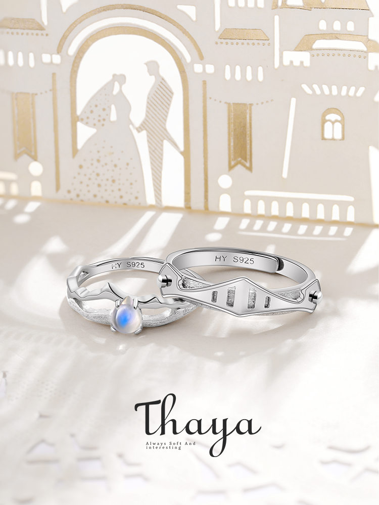 Thaya Armour-Bands Jewelry Moonstone-Rings Silver Vintage Natural Women Blue Light Lovers'