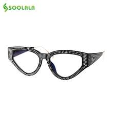 SOOLALA 블링 고양이 눈 독서 안경 여성용 케이스 안경 프레임 여성 노안경 + 0.5 0.75 1.0 1.25 1.5 to 4.0