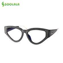 SOOLALA Bling очки для чтения «кошачий глаз» женские с чехлом оправа для очков женские очки для дальнозоркости + 0,5 0,75 1,0 1,25 1,5 до 4,0