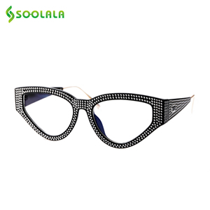 Image 1 - SOOLALA Bling очки для чтения «кошачий глаз» женские с чехлом оправа для очков женские очки для дальнозоркости + 0,5 0,75 1,0 1,25 1,5 до 4,0