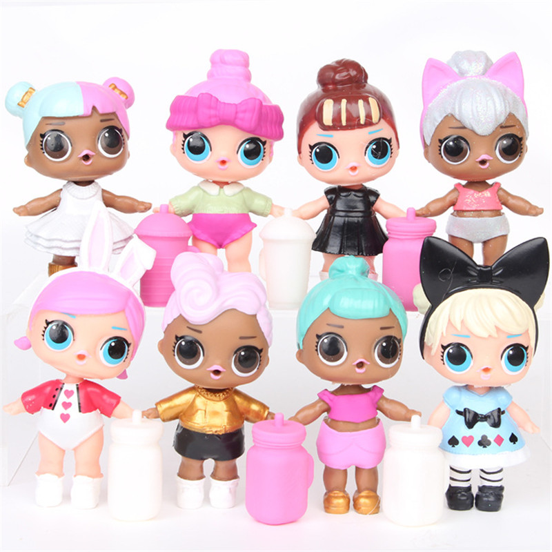 L.O.L.surprise ! 8pcs/set lol dolls toys ornaments toy Confetti Pop glitter series Action Figures Anime For kids Christmas Gifts image