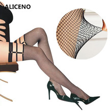 Nylon Stockings Fishnet Hosiery Pantyhose Sexy Sheer Punk Thigh Women's Rivet SW041 Rib-Top