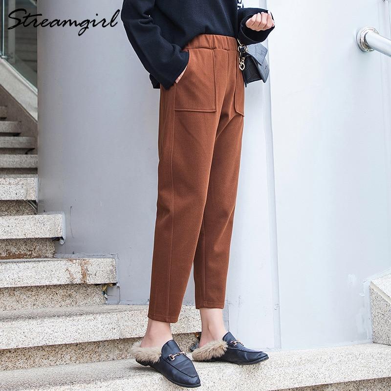 Winter Woolen Pants For Women Vintage Autumn Thick Trousers Woolen Loose High Waist Harem Black Thicken Wool Pants Capris Warm