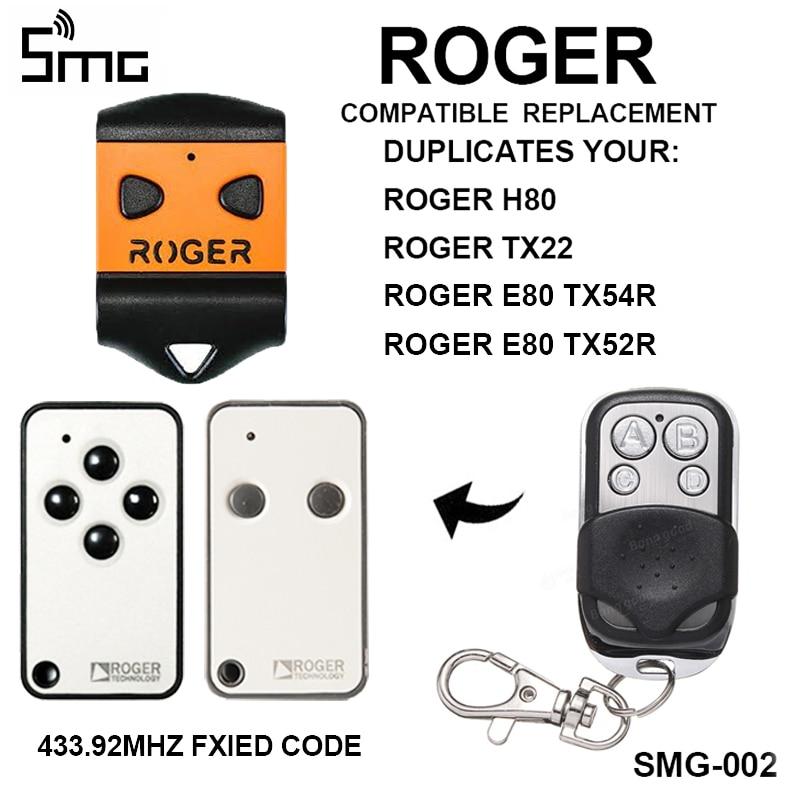 Gate Control ROGER H80 TX22 ROGER E80 TX54R TX52R Garage Door Remote Control ROGER Garage Door Opener Key Duplicator 433.92mhz