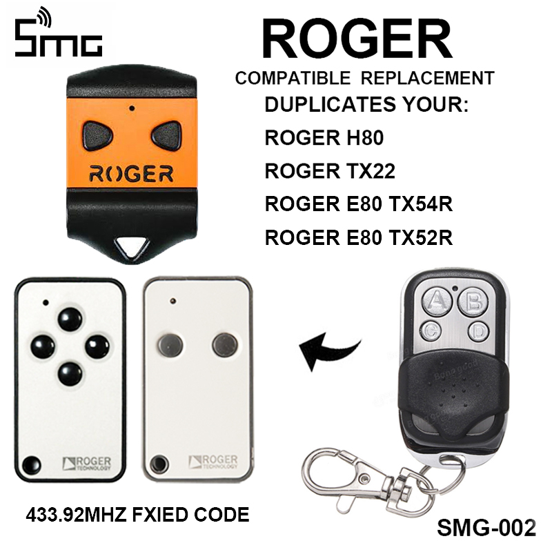 ROGER H80 TX22 ROGER E80 TX54R TX52R Garage Door Remote Control ROGER Remote Garage Key Duplicator For Gate Control 433.92mhz