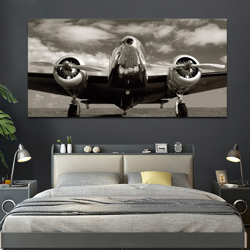 OUCAG Zwart Wit Vliegtuig Canvas Painting Vintage Airplane Modern Traffic Poster Wall Art Pictures Living Room Gift Decoration image