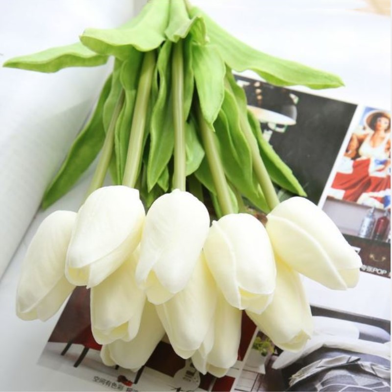 1PC PU Mini Tulips Artificial Flowers For Home And Wedding Decoration Flowers 10