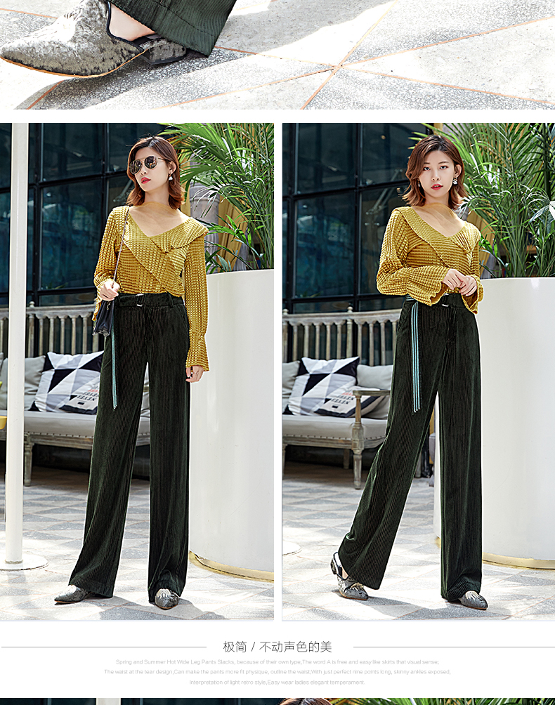 Corduroy Wide Leg Pants Women 19 Autumn Pleuche High Waist Casual Loose Full Length Pants Korean Palazzo Plus Size Trousers 7