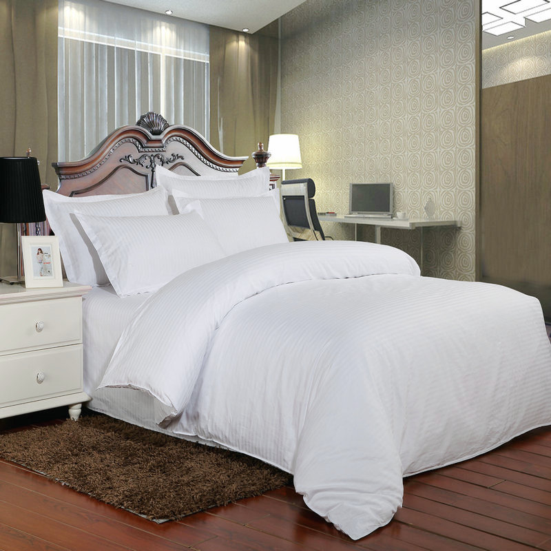 Pure White Satin Cotton Hotel Bedding Set 100% High Quality 5 Star Hotel Striped Bed Linen Twin Full Queen King Free Shipping