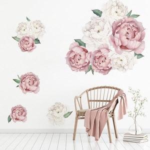 Image 3 - Adesivos de parede peônias rosas e brancas, decoração em aquarela para quarto de crianças, sala de estar, casa, decalque de parede, floral, home decor