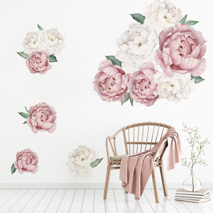 Image 3 - Pink White Watercolor Peony Flowers Wall Stickers for Kids Room Living Room Bedroom Home Decoration Wall Decal Home Decor Floral