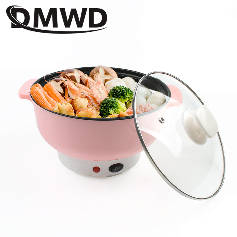 DMWD Mini Electric Skillet Non-stick 2L Rice Cooker Hotpot Noodles Egg Omelette Cooking Wok Heater Soup Stew Pot Frying Pan EU