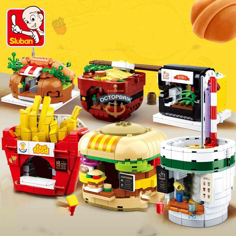 Thành Phố Tương Thích Tự Làm Kiến Trúc Thành Phố McDonalding Thức Ăn Đường Phố Hàm Tạo Hamburger Store Shop Khối Xây Dựng Gạch Đồ Chơi