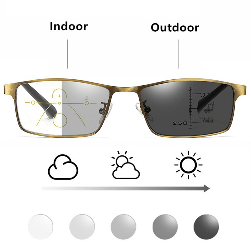 High Quality Photochromic Reading Glasses Men Progressive Multifocal CR-39 Resin Anti-Blue Ray Presbyopic Glasses Metal Frame 15