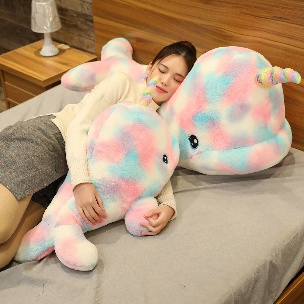 Big Lovely Rainbow Narwhal Plush Toys Stuffed Animal Whale Doll Cute Soft Sleep Pillow Shark  For Children Girl Birthday Gift