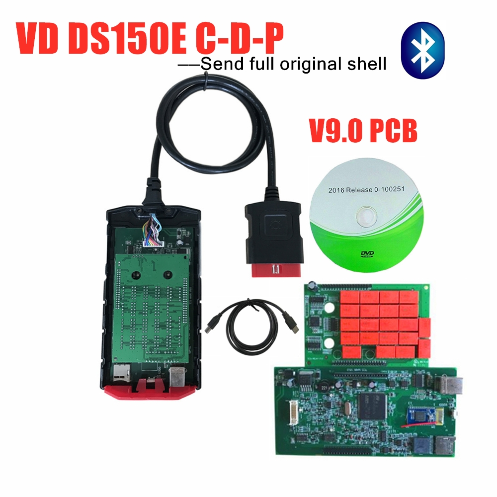 Original shell Latest 2016R0 keygen new vci scan for delphis <font><b>VD</b></font> <font><b>DS150E</b></font> CDP VDIJK Autocoms pro with bluetooth OBD diagnostic tool image