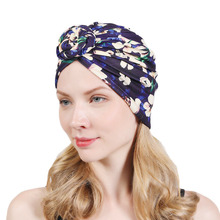 Yeni düğümlü türban şapka kadınlar için büküm çiçek headwrap düğüm hindistan şapka bayanlar kemo kap elbise kap saç aksesuarları müslüman şapka