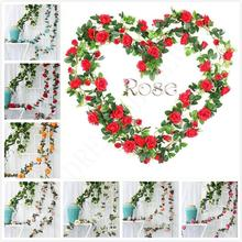 9 Flowers 16 33 Artificial Rose Flower Vines Wedding Decor Rattan String Garden Hanging Garland Silk