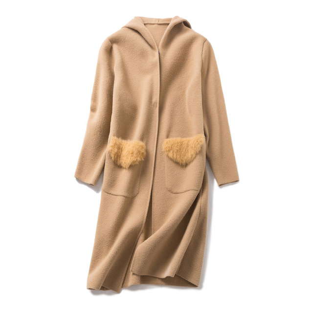 Fishion Office Lady Hooded Long Woolen Winter Coats Women Covered Button Wool Coat And Jacket Loose Pockets Solid Ladies Coats 5