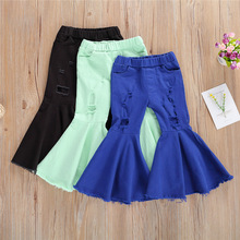 2-7Y Fashion Children Kids Denim Hole Ripped Pants Girls Bell-bottomed Pants Baby Girls High Waist Wide Leg Jeans Trousers Pants
