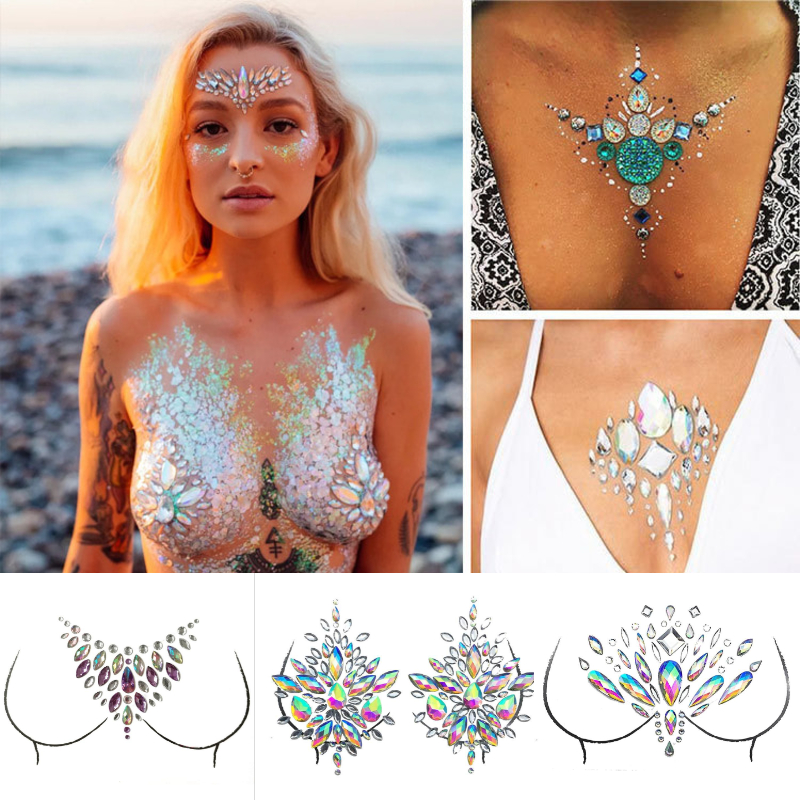 3D Body Art Chest Jewels Crystal Face Decoration Diamond Tattoo Acrylic Drill Party Music Festival Party Rhinestone Stickers