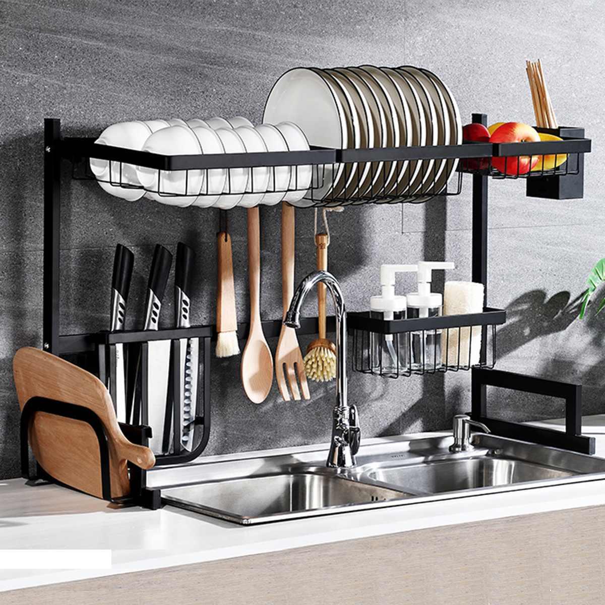 Stainless Steel Storage Holders Racks Kitchen Shelf Rack Wall Drain Dish Rack Pot Lid Spice Holder DIY Kitchen Organizer 65/85cm