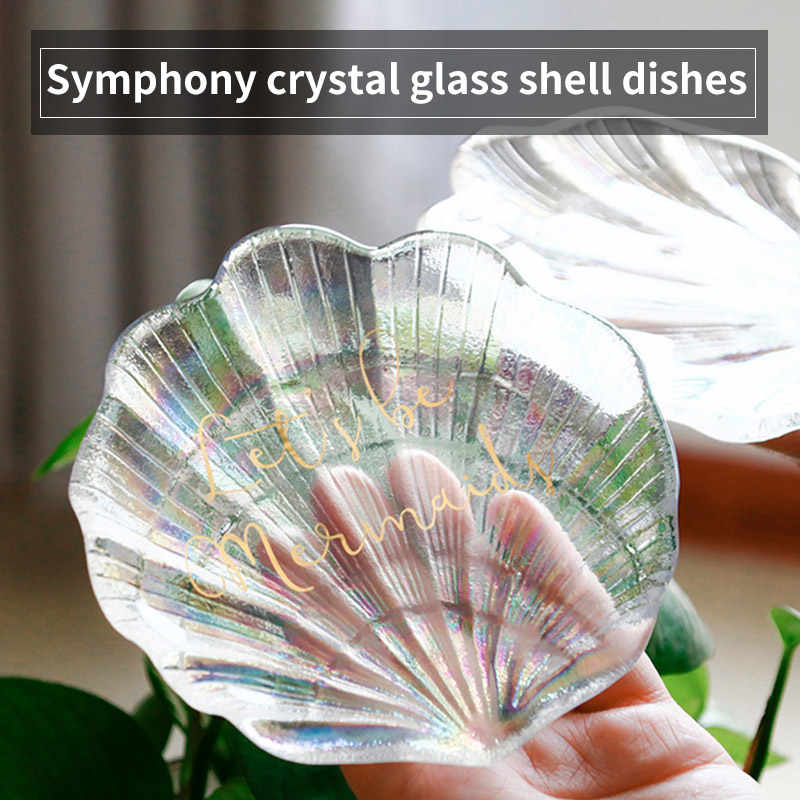 Colorful Shell Shape Glass Plate Trinket Jewelry Tray Ring Dessert Dish Holder Photography Props New