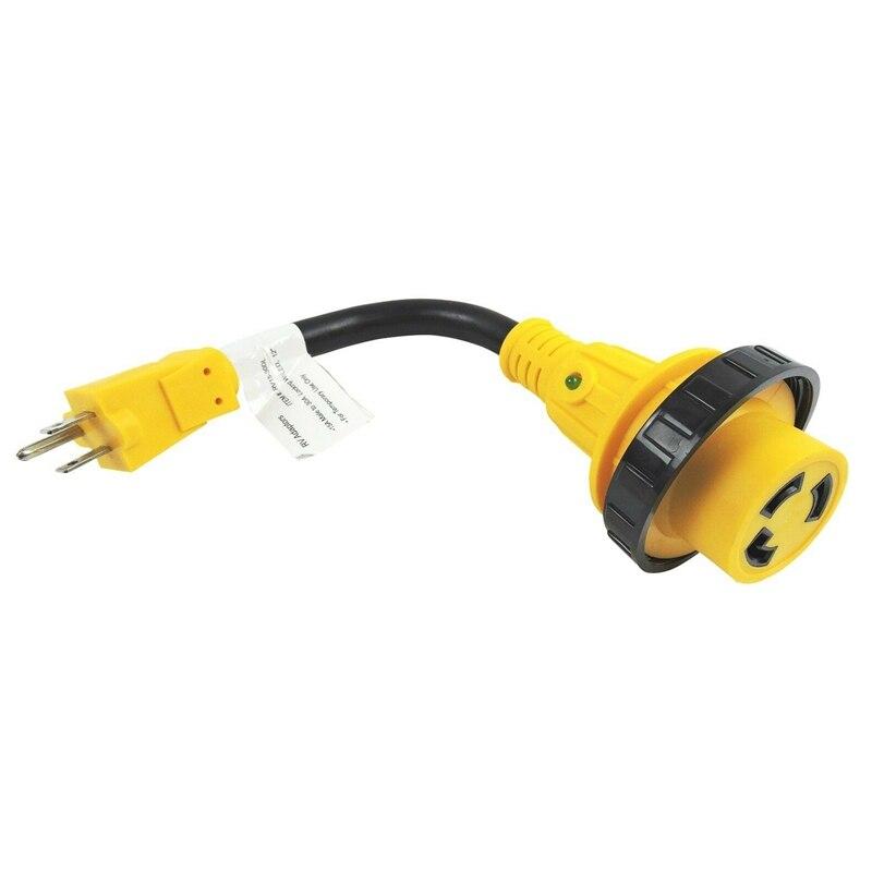 RV Power Cord Adapter 15 Amp Male to 30 Amp Twist Lock Female Trailer