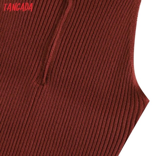Tangada Fashion Women Solid Elegant Sweater Dress Sleeveless Zipper Ladies Warm Midi Dress QW47 4