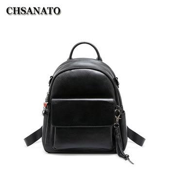 CHSANATO Women Leather Backpacks Black Female Shoulder Bag Sac a Dos Travel Ladies Bagpack Mochilas School Bags For Girls