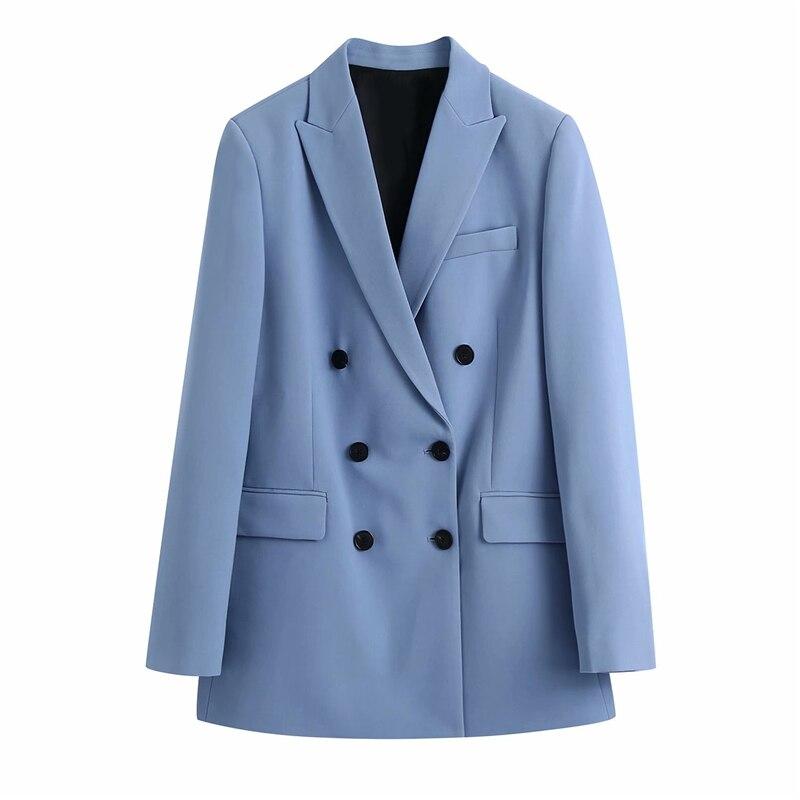 Zxqj Elegante Vrouwen Blauw Notched Kraag Blazers 2021 Mode Dames Double Breasted Jas Causale Vrouwelijke Chic Pocket Jassen Blazers  - AliExpress
