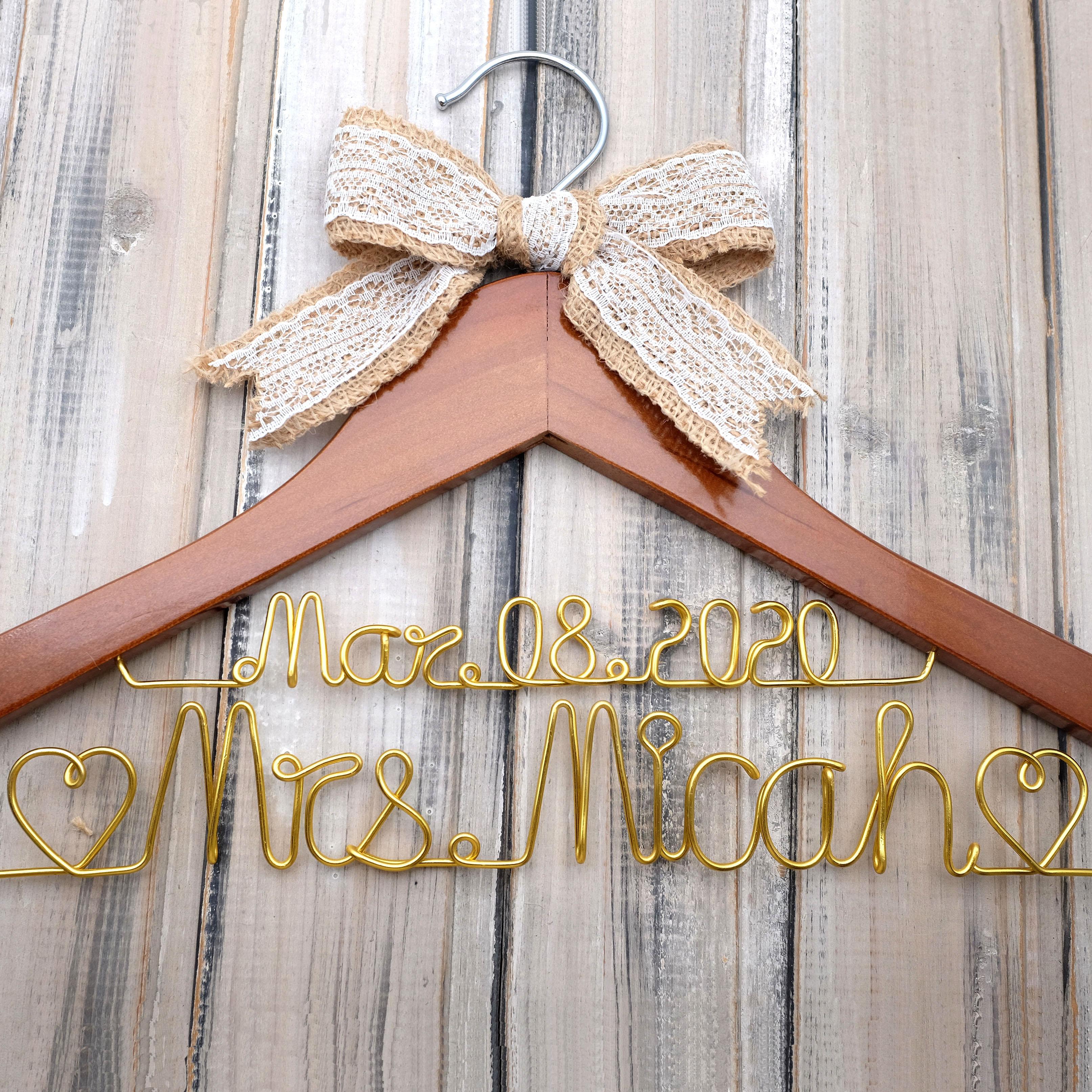 Custom Wedding Hanger,Wedding Dress Hanger,Bride Hanger,Double Line Wire Name Hanger ,Bridesmaid Hanger,Bridal Party Gifts