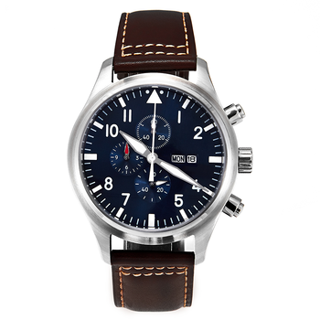 5ATM MIYOTA 45mm Pilot Watch Chronograph Day/Date Full Luminous Domed Sapphire Crystal Leather Strap Blue Dial Little Prince - discount item  40% OFF Men's Watches