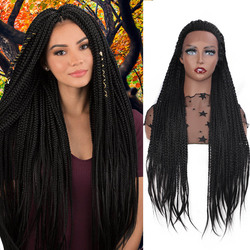 ELEGANT MUSES Lace Front Wig Synthetic  Purple 66cm Long Box Braid Wig Purple Glueless Braided  For Afro Women Daily Wear