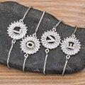Горячая Распродажа 26 букв A-Z начальный комплект Голубой цирконий буква шарм браслеты серебряного цвета регулируемый цепочка для женщин, юв...